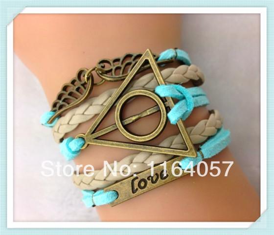 Free Shipping 6PCS LOT Blue Leather Suede Retro Harry Potter Letter LOVE Wing Bracelet 2013 Fashion