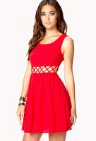 2014 New European fashion elegant sweet high waist mesh vest chiffon dress,plus size S -- XXXL women sexy hollow out mini dress