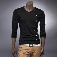 Mens 2014  V-neck Long-sleeve T-shirt ,Male Spring Autumn shirt basic t-shirt Size M-XXL Hot