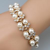 New style fashion temperament rhinestones shiny imitation-pearls bracelet  jewelry S5632