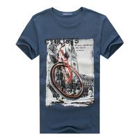 New 2014 Men's T Shirt Print casual bicycle printing Short Sleeve Cotton shirt mans Quality Fashion Brand Slim Tshirt For Men