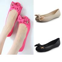 Women's Sandals melissa style 2014 Summer Beach Round toe bow cutout jelly shoes rose sandals open toe flat rain shoes slipper