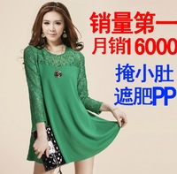 Autumn plus size clothing lace chiffon shirt female medium-long loose long-sleeve basic shirt one-piece dress
