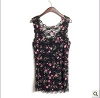2014 New Summer Lace Blouse Shirt Vest V Neck Collar Sweet Slim Floral Tank Top For Women T34