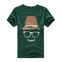 Hot  Free Shipping Summer Wear Man's's Cotton Round Collar Fashion Short Sleeve T-shirt Unlined Upper Garment Size:M-XXL