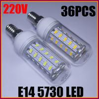 6X Ultra Bright E14 5730 SMD 36LED 12W AC220-240V LED Corn Bulb Light Spotlight Warm/Cool White Cover