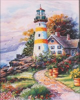 New arrival lighthouse ribbon embroidery paintings