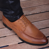 Free shipping 2014 New men Genuine Leather black and browm fashion shallow mouth 39-43