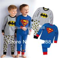 Boys Pajama Sets Children's Superman Long Sleeve Blue Grey Pajamas Boy's Pajamas Set 2015 Sleepwear Hot Sale