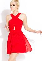 2014 new Europea fashion unique cross cutout beautifulone-piece dress,plus size S -- XXXL sexy mini women summer chiffon dress