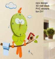 Novelty Kids Large Wall Clocks New DIY Cartoon  3D Vinyl Wall Stickers Watch Home Decor Children Gift Modern Design Freeshipping
