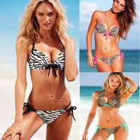 Leopard Bikini Set Swimsuit zebra bikini suit swimsuit V neckline steel prop gather swimwear swimsuit pink princess