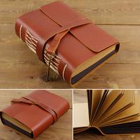 Vintage fashion magic photo album handmade diy genuine leather photo album 6 paste type quality gift