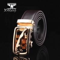 Men Genuine Leather Automatic Belt Leopard Golden Steel Buckle Belts Classical pk227-T1