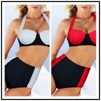 High waist bikini Victorian swimsuit female steel trailer push up chest gather conservative suit bikini swimwear wholesale