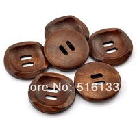 Free Shipping 50pcs/lot Brown Color 2 Holes Round Wood Sewing Buttons Beads Scrapbooking 30mm Knopf Bouton