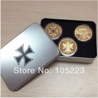 2014 new design!! a set of gold plated german coins+iron box for free shipping