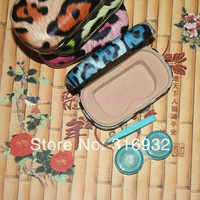 Kawaii leopard print plastic and PU cartoon contact lenses color  case / lens Companion container box  FREE SHIPPING