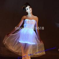 DHL free shipping Novelty LED luminous dress Cute flashing beach dress Glowing strapless dress sweet summer evening dress