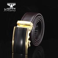 Men Genuine Leather Automatic Belt Top Grade Golden Steel Buckle Gift for Men pk229-T1