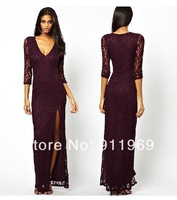2014 New Noble Top quality V Collar Hollow Dresses Halter Backless Chiffon Evening Dress ,XS,S, M, L, XL,XXL