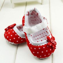 Polka Dot First Walkers Baby kids Toddler Shoes infant Spring Autumn Flower Soft Sole Girl Shoes Free shipping&Drop shipping(China (Mainland))