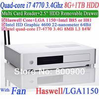 small computer mini pc itx Quad Core i7 4770 3.4Ghz with haswell LGA 1150 Intel HD Graphic 4600 64 bit processor 8G RAM 1TB HDD