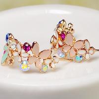 2014 Fashion Stud Earring Garland Semi-circle Big Earrings for Women Crystal Earring Gold Earings RG-E087