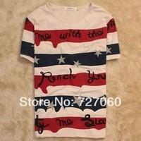 2014 hot sale men's summer clothing american flag short-sleeve T-shirt male stripe t-shirt usa style,