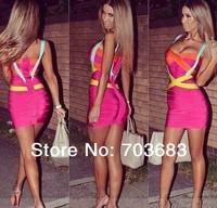 2014 Sexy mini colored bandage Summer casual dress