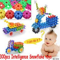 Free shipping cp1010-1 300pcs/lot  Colorful Plastic Snowflake Blocks Educational Intelligence toy