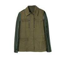 Free Shipping New Women Retro Military Green Faux Leather Sleeve Rivet Collar Slim Blazer Jacket Coat WCT118