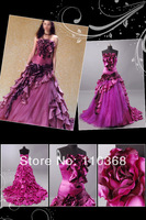 LD0180 Fashion Satin Design Brand Organza Style Flower Strapless Scalloped Evening Dress,Wholesale Evening Gown Free Shipping