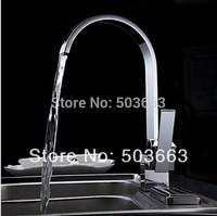 Great Swivel Chrome Brass Bibcock Kitchen Faucet Spout Vessel Basin Sink Single Handle Deck Mounted Mixer Tap Vanity MF-643