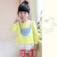 Hot sale100cm to 140cm cartoon bird long sleeve cotton girls dresses ball gown children dress spring autumn