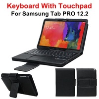 Removable Wireless Bluetooth Keyboard With Touchpad + Leather Case Cover Stand For Samsung GALAXY Tab PRO 12.2 P900 P905