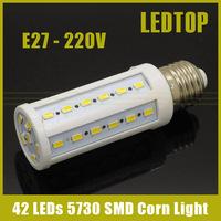 10pcs Super bright E27/ E14/ B22 5730 SMD 12W 42 leds Corn Bulb light led spotlight lamp home lighting 220v/110v free shipping