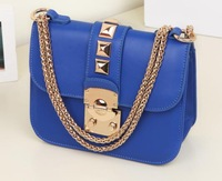 New style fashion women key and lock shoulder bag lady chain rivet handbag totes brand messenge bag