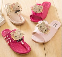 fashion summer female child sandals size 31-36yards girls rhinestone herringbone slippers kids flip flops children slides A552