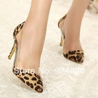 Free Shipping New Fall Women Shoes Leopard Shoes Fashion Basic Women Pupms High Heels Shoes Ladies Pointed Toe High Heels Shoes