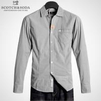 Scotch soda 100% 50 cotton yarn high quality fashion plaid male long-sleeve shirt grey