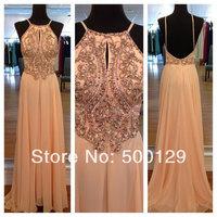 2014 Elegant New Design Off The Shoulder Crystal Chiffon Special Dresses Custom Made Straight Formal Long Evening Dresses
