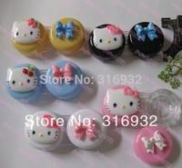 Kawaii HELLO KITTY 3D plastic eyewear contact lenses color  case lens Companion container