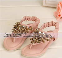 Retail Free Shipping 1 Pairs Girls Sandals Kids Summer Falts Fashion Shoes Girls Flops Shoes Baby Rhinestone Flops AL130618026