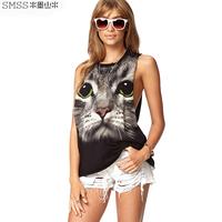moben street fashion summer sleeveless short design o-neck cat print vest