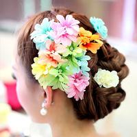 Rainbow eloquence bridal hairpin multicolour flower small hairpin rhinestone the wedding hair accessory formal dress dance