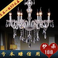Smoky grey k9 crystal candle pendant light lighting modern fashion