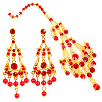 Classical - bride hair accessory earrings hair accessory red white gold