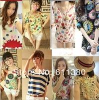 Free shipping 2014 new Fashion 100% Cotton T Shirt Women  Tops T-shirts tee shirts for women