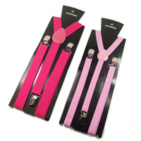 2014 new Candy color male women's general suspenders women's suspenders suspenders 3 clip multicolor free shipping
